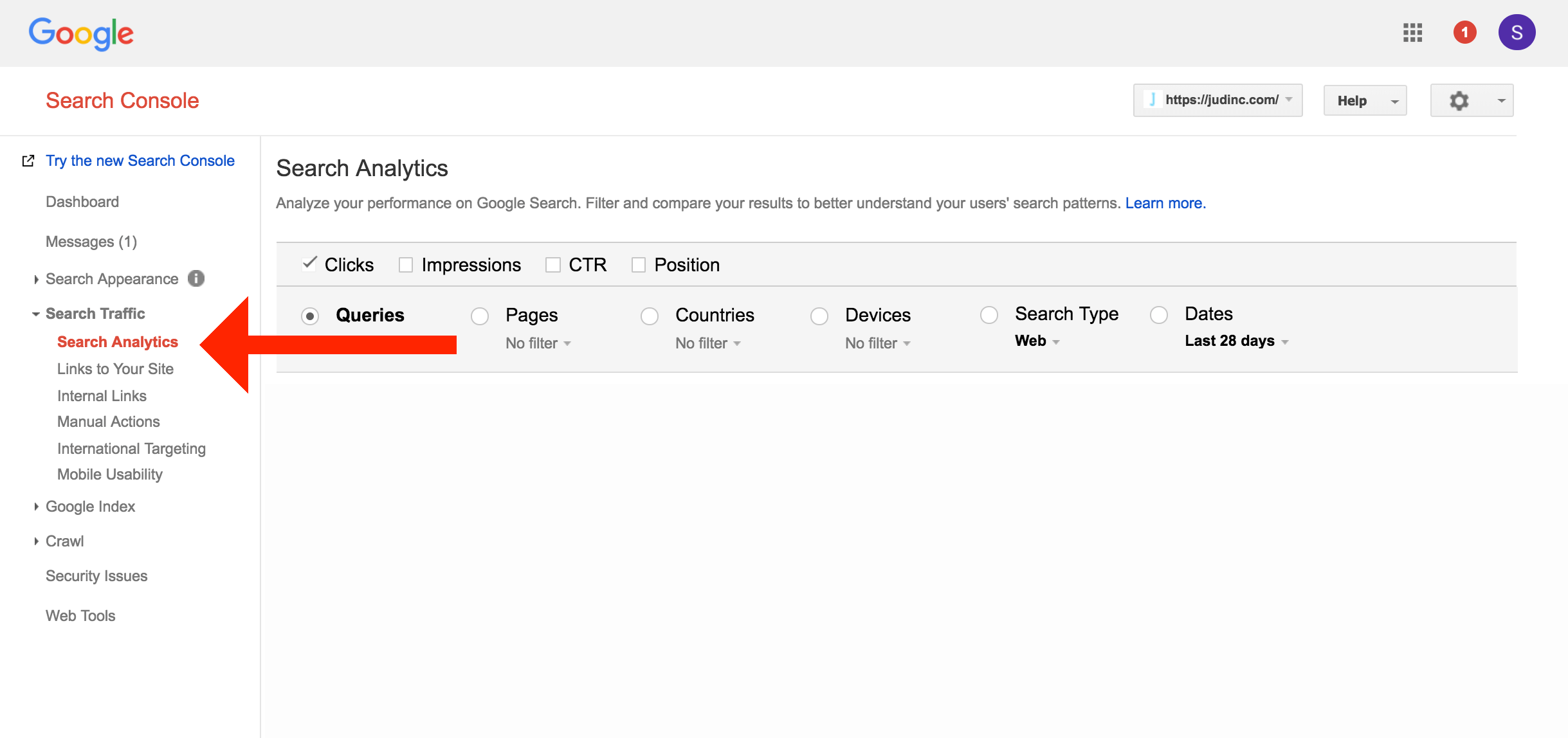 google search console search analytics customer keywords
