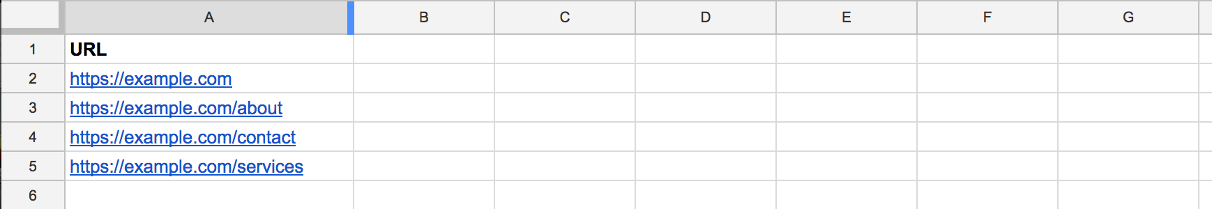 SEO URLs spreadsheet
