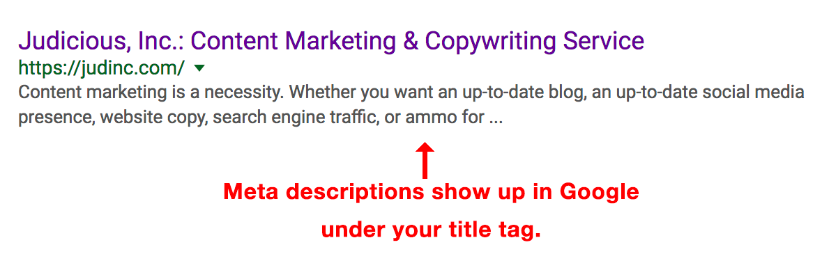 meta descriptions show up in Google