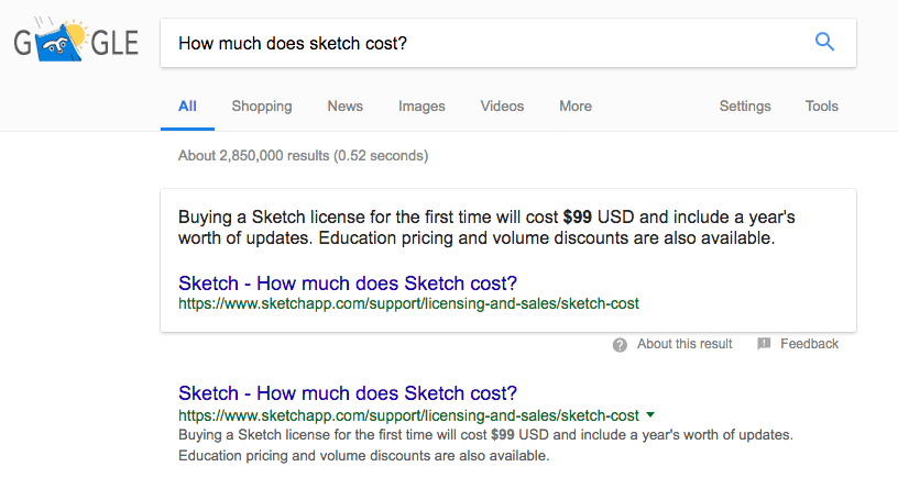 sketch in google search results