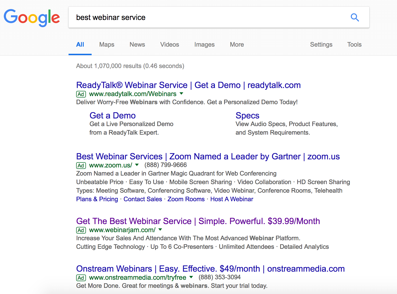 Google Search Results of best webinar service