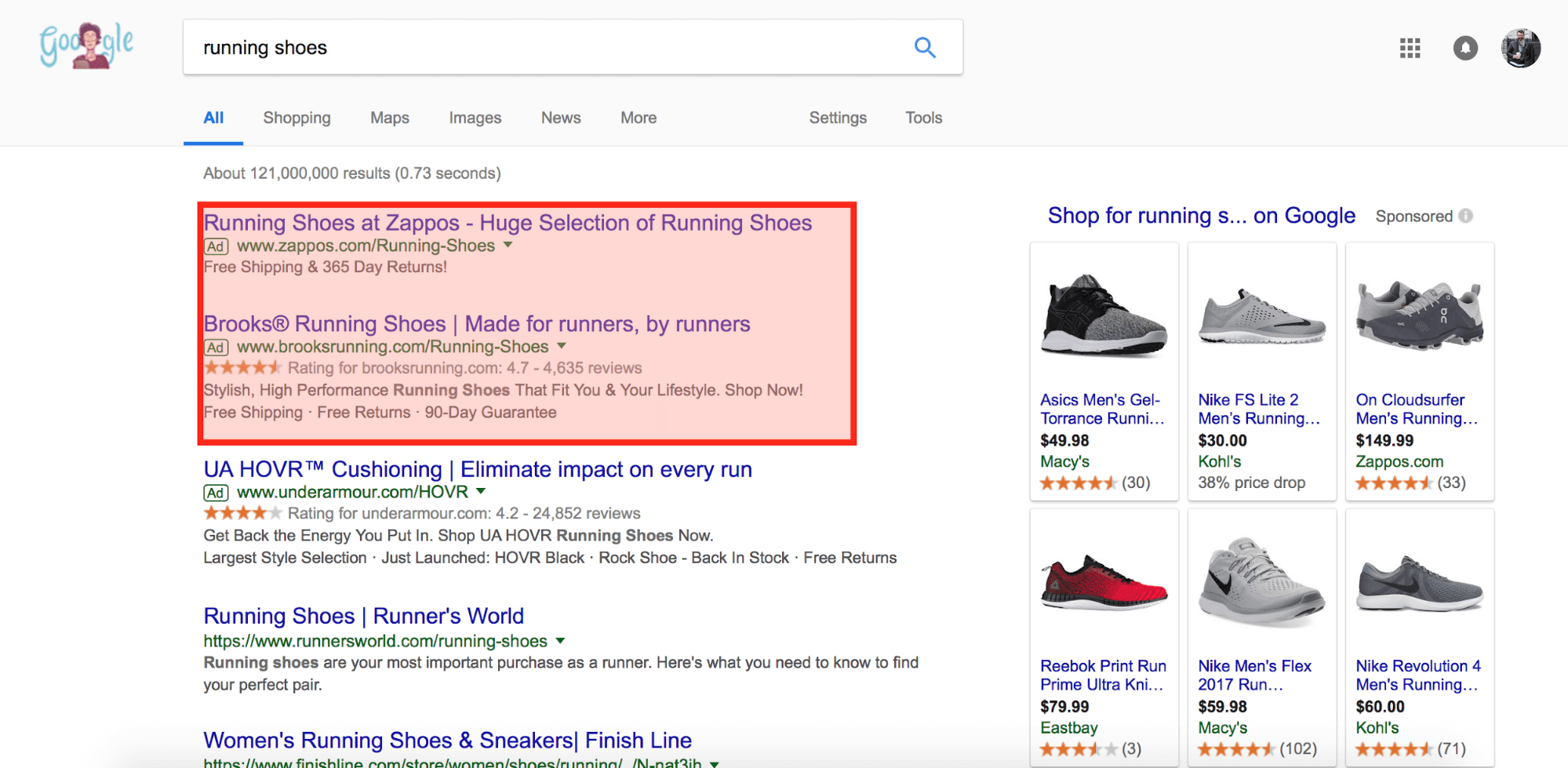 google search result with ads for running shoes