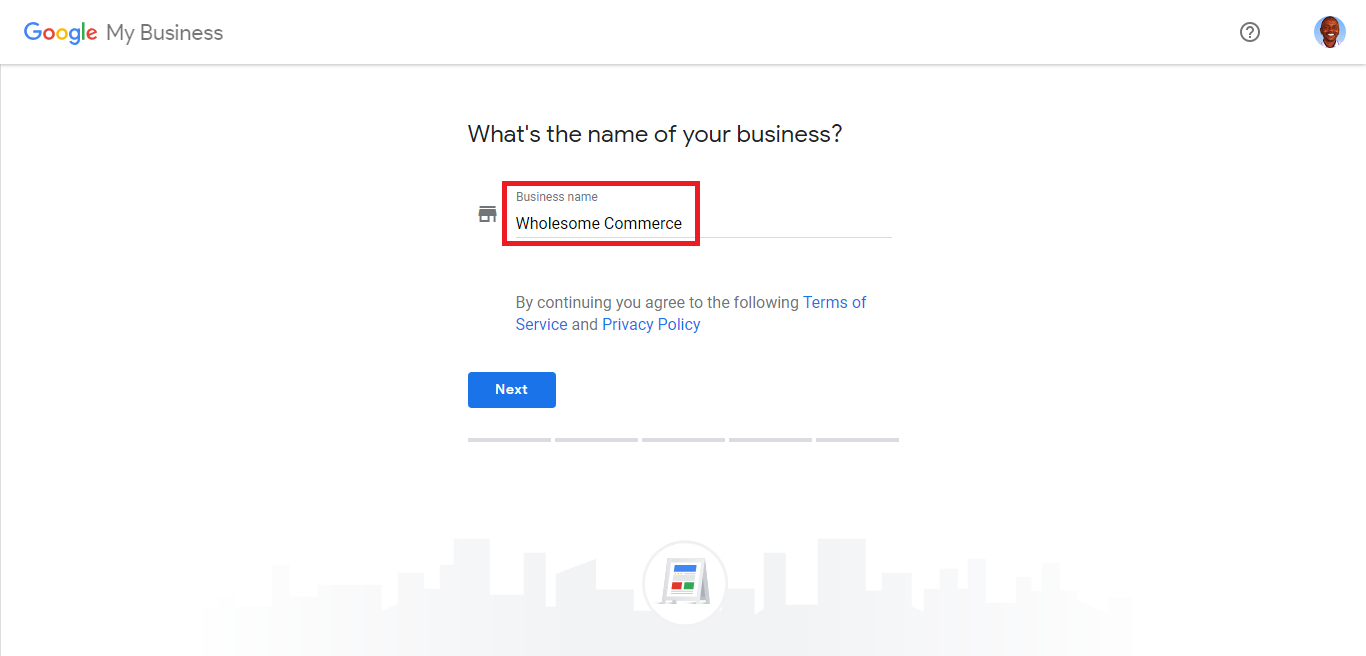 Google My Business setup Step 1