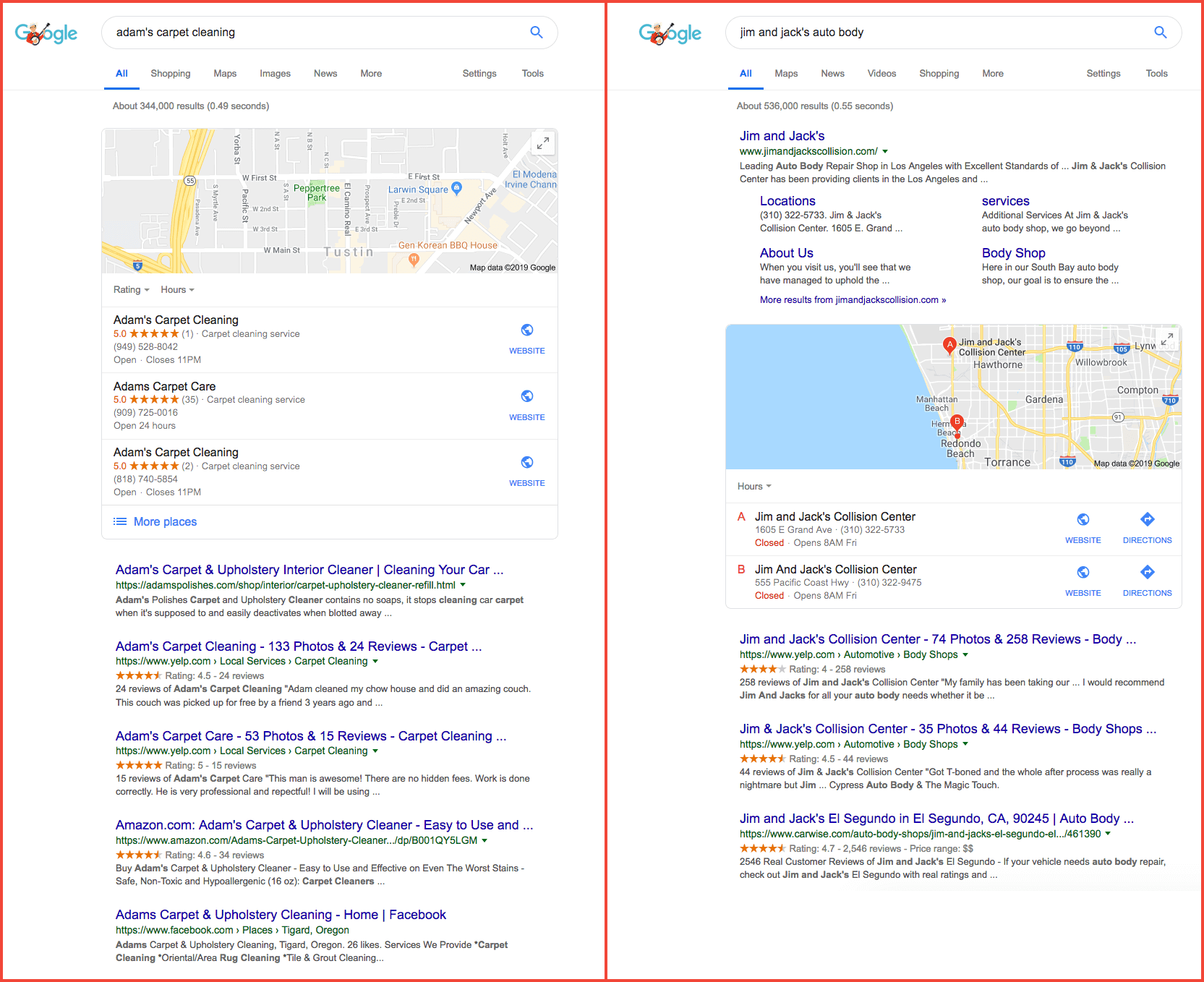 Google result local comparison