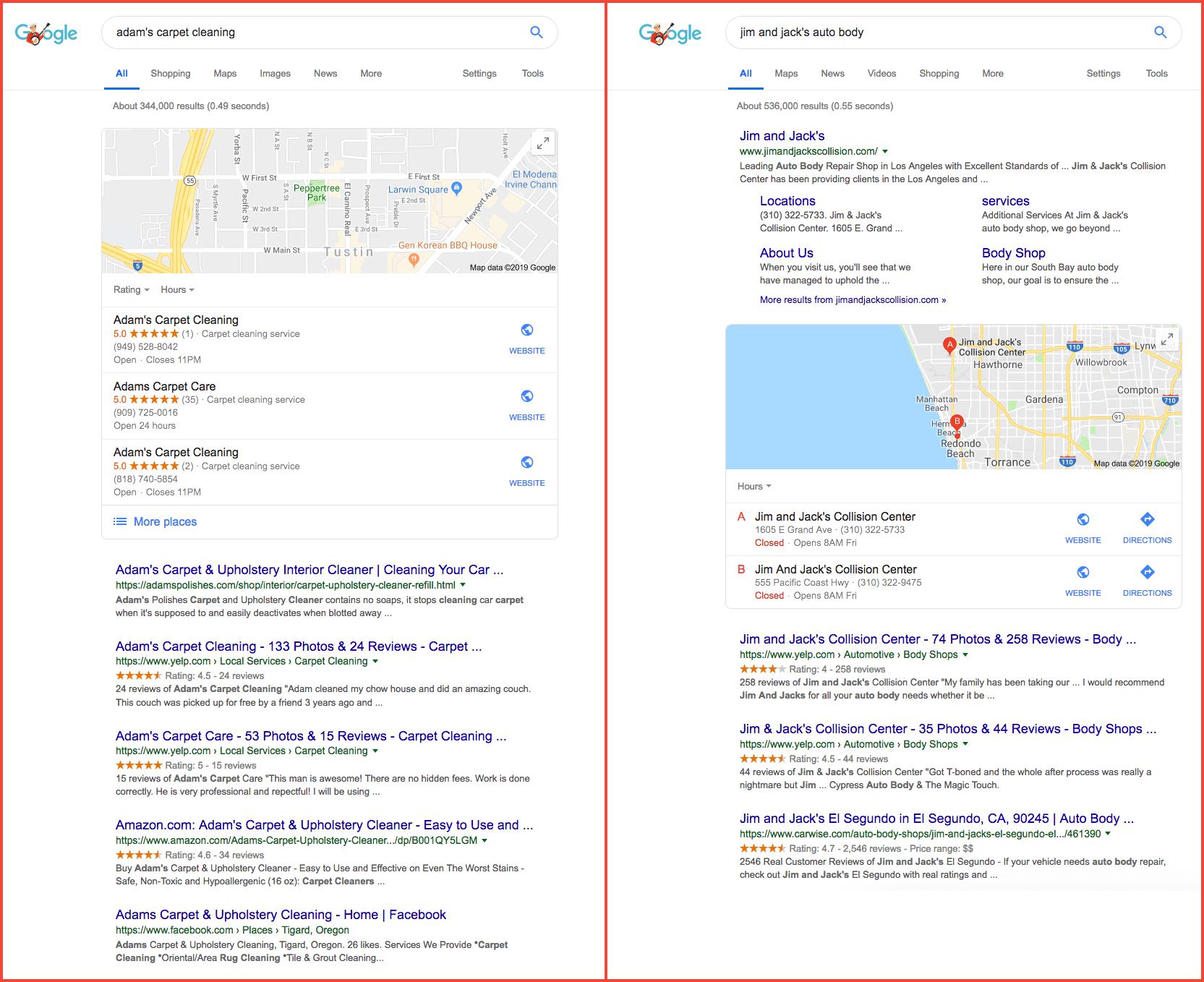 Google result local comparison