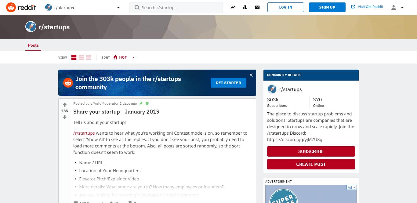Reddit r/startups