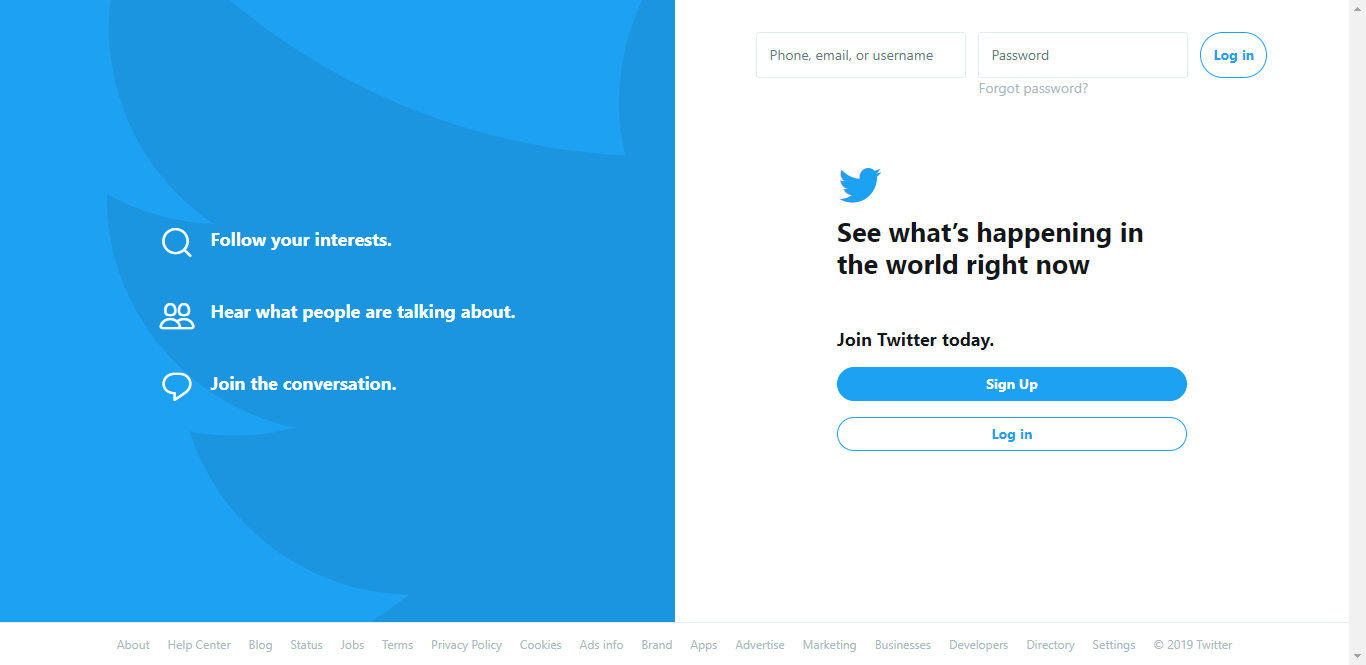 Twitter sign up page 2019