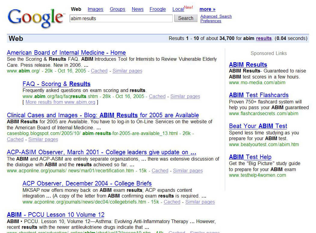 Google search results from 2005