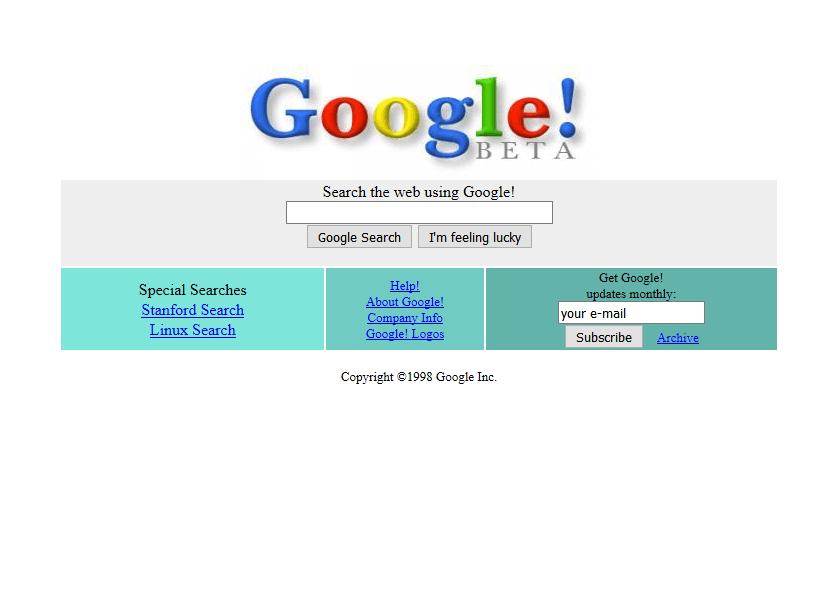 Google Homepage 1998