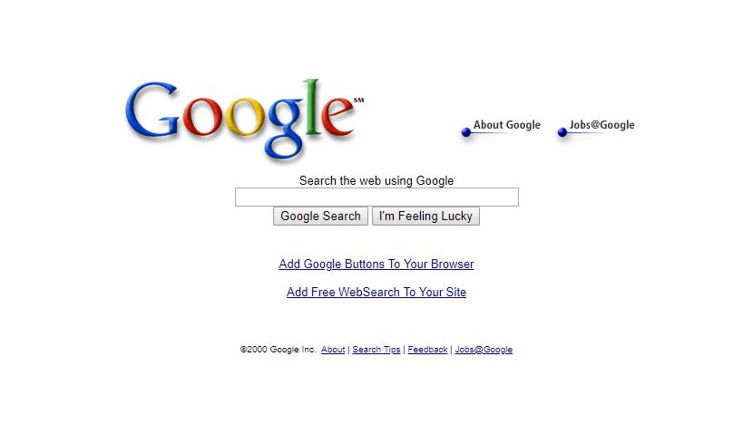 Google Homepage 2000