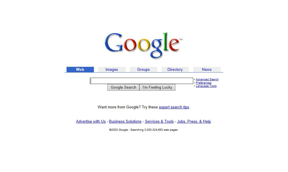Google Homepage 2003