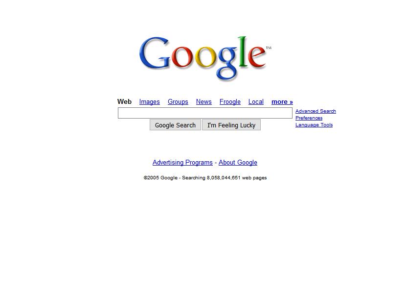 Google Homepage 2005