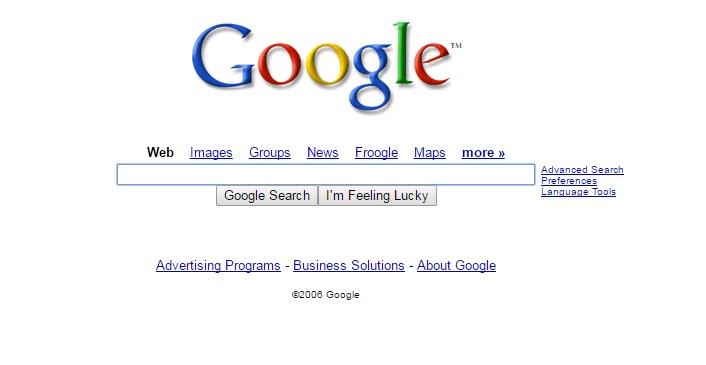 Google Homepage 2006