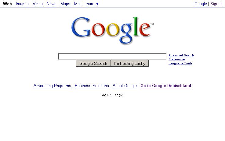 Google Homepage 2007