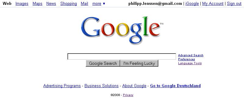 Google Homepage 2008