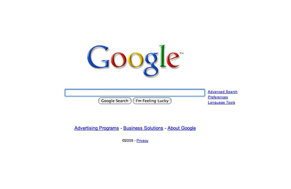 Google Homepage 2009