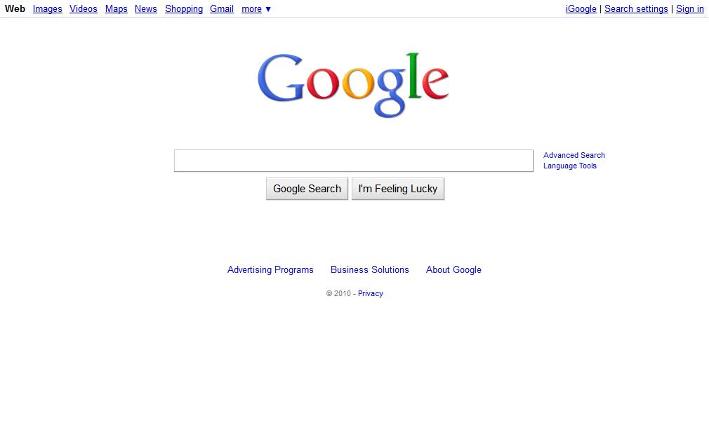 Google Homepage 2010