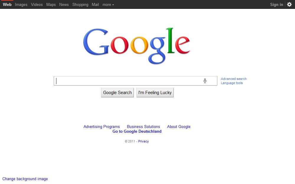 Google Homepage 2011