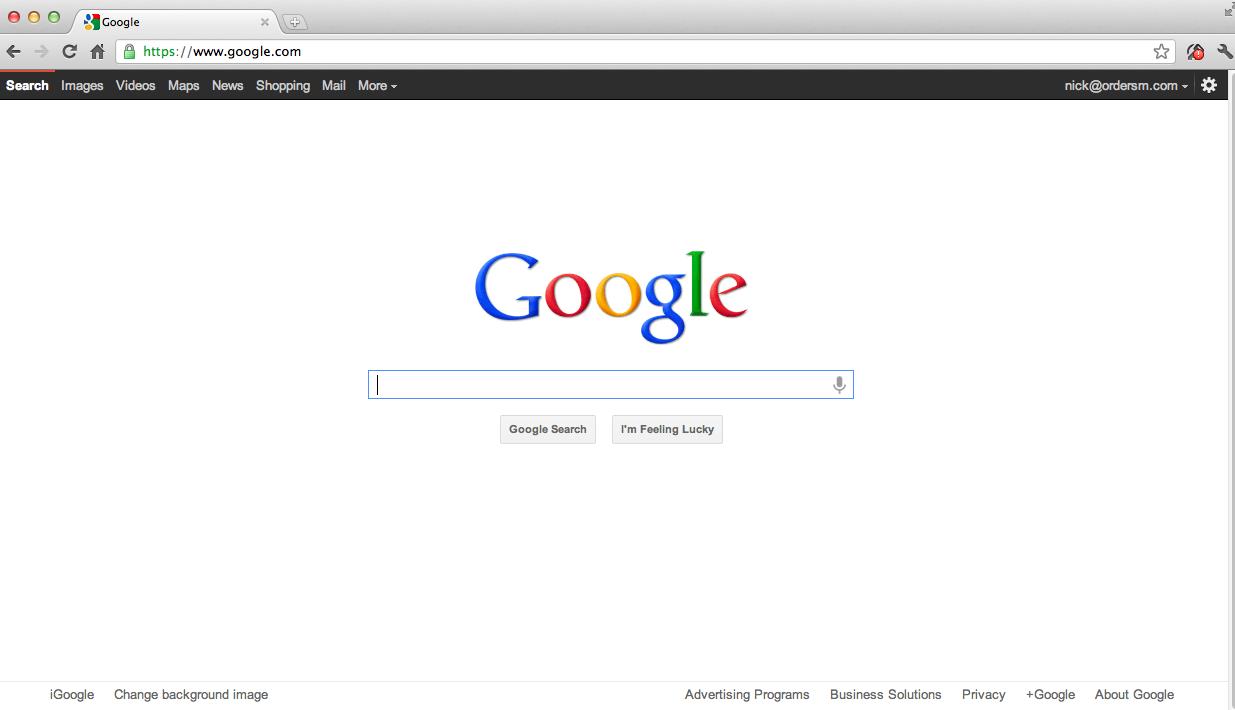 Google Homepage 2012