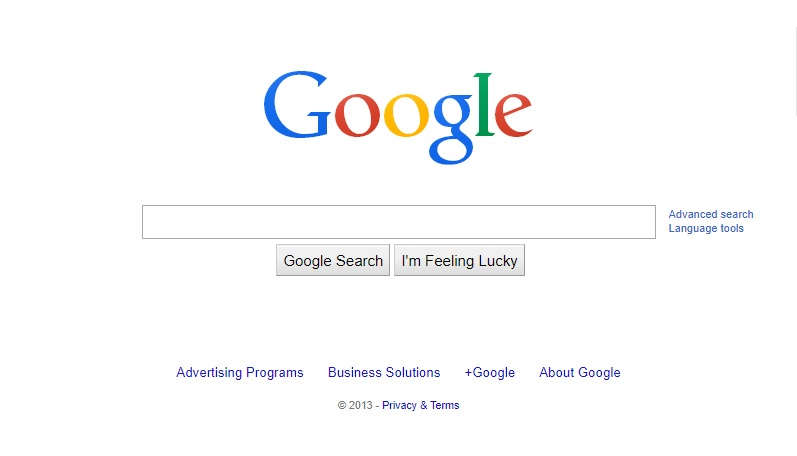 Google Homepage 2013