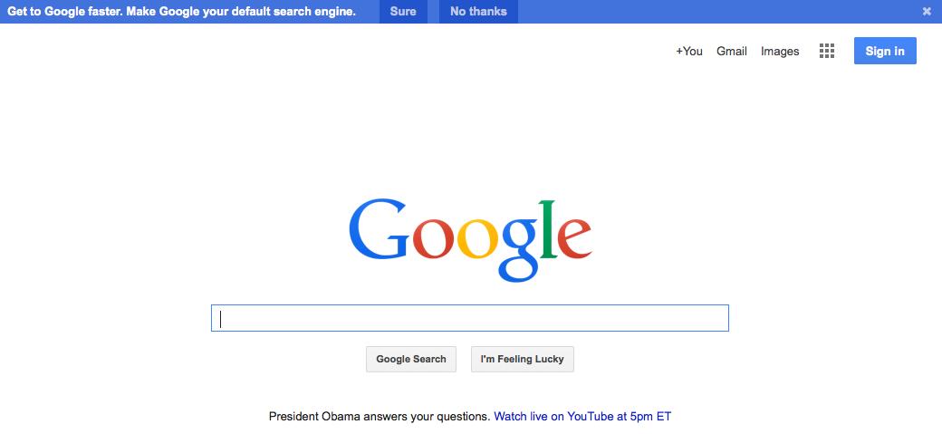 Google Homepage 2015