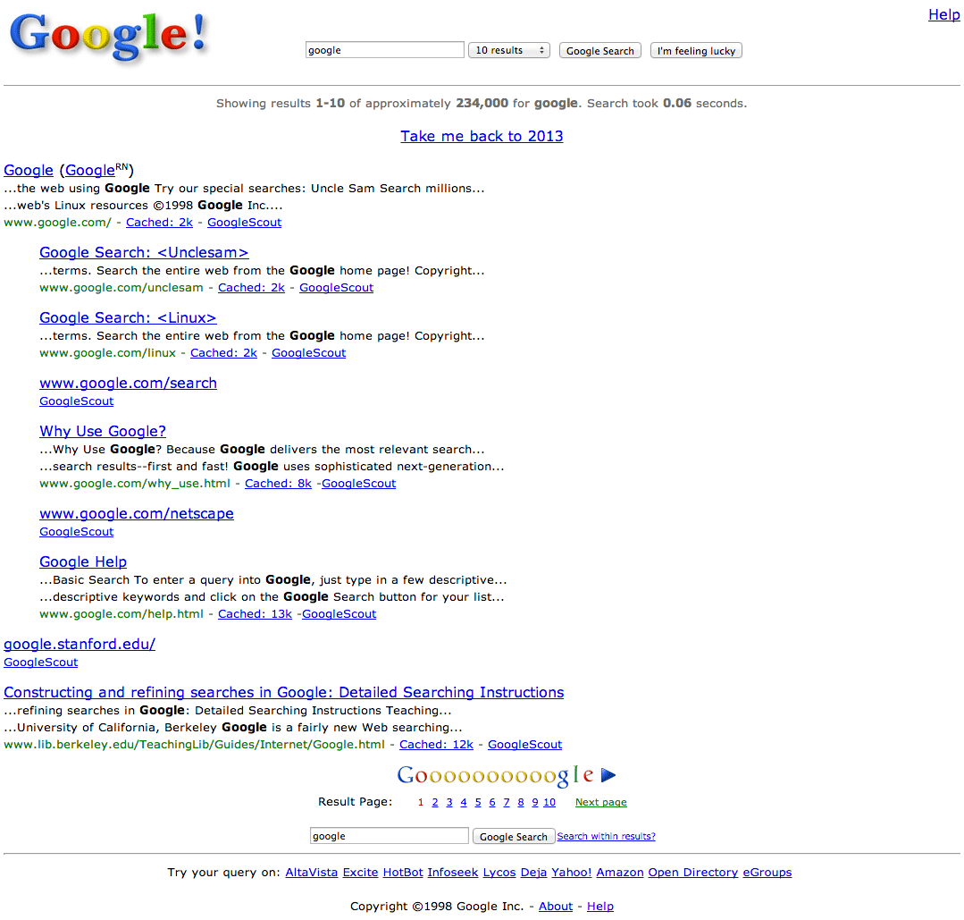 google search results page 1998