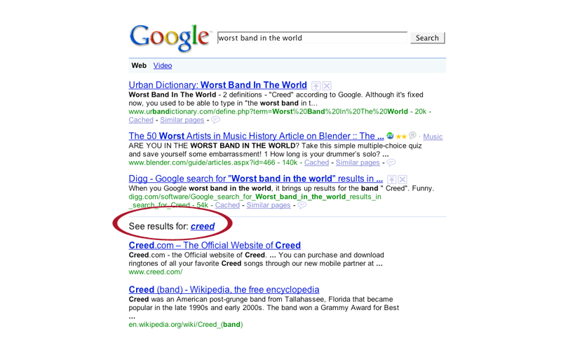 Google search results page from the year 2000
