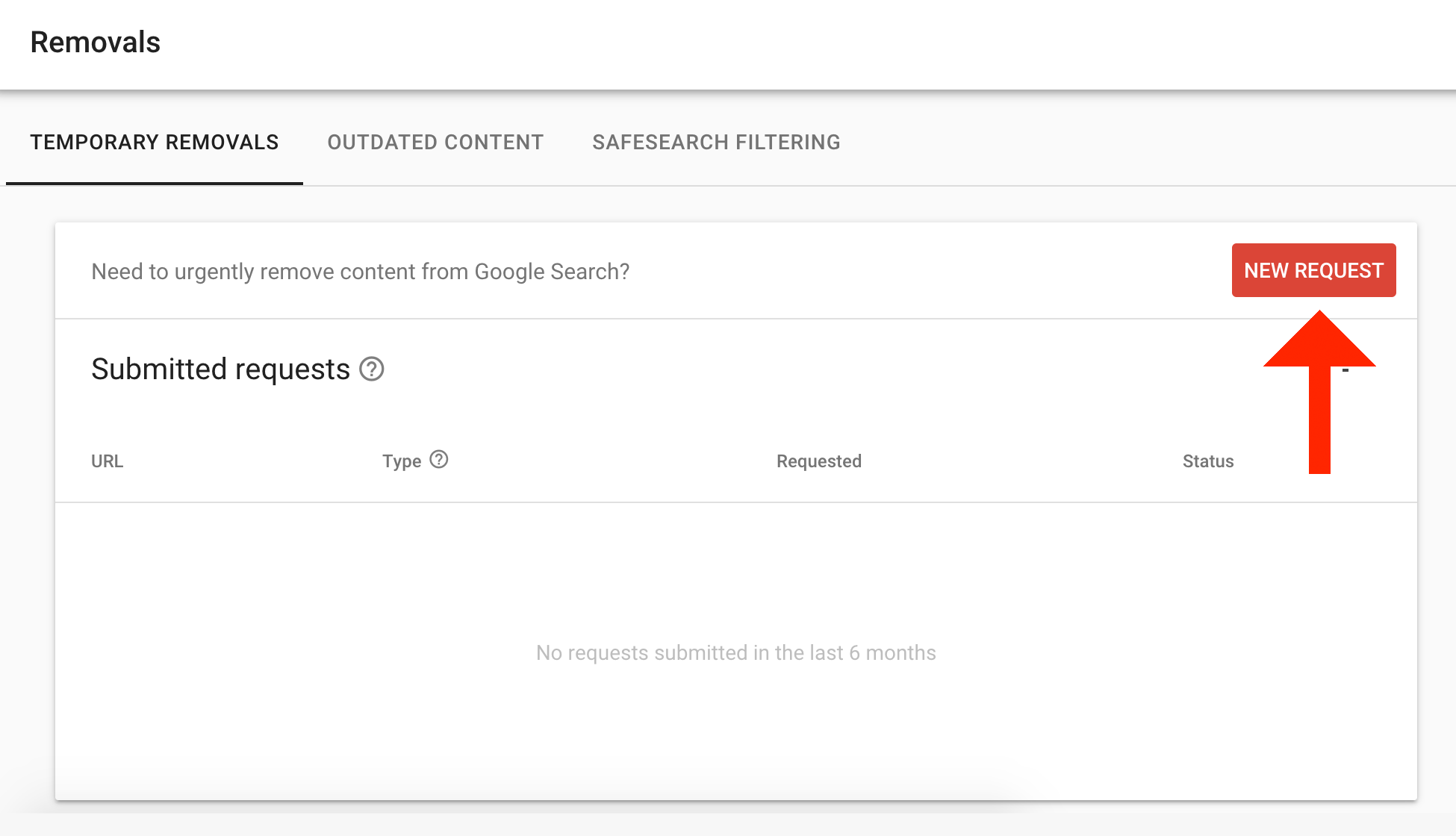 Google Search Console New Removal Request