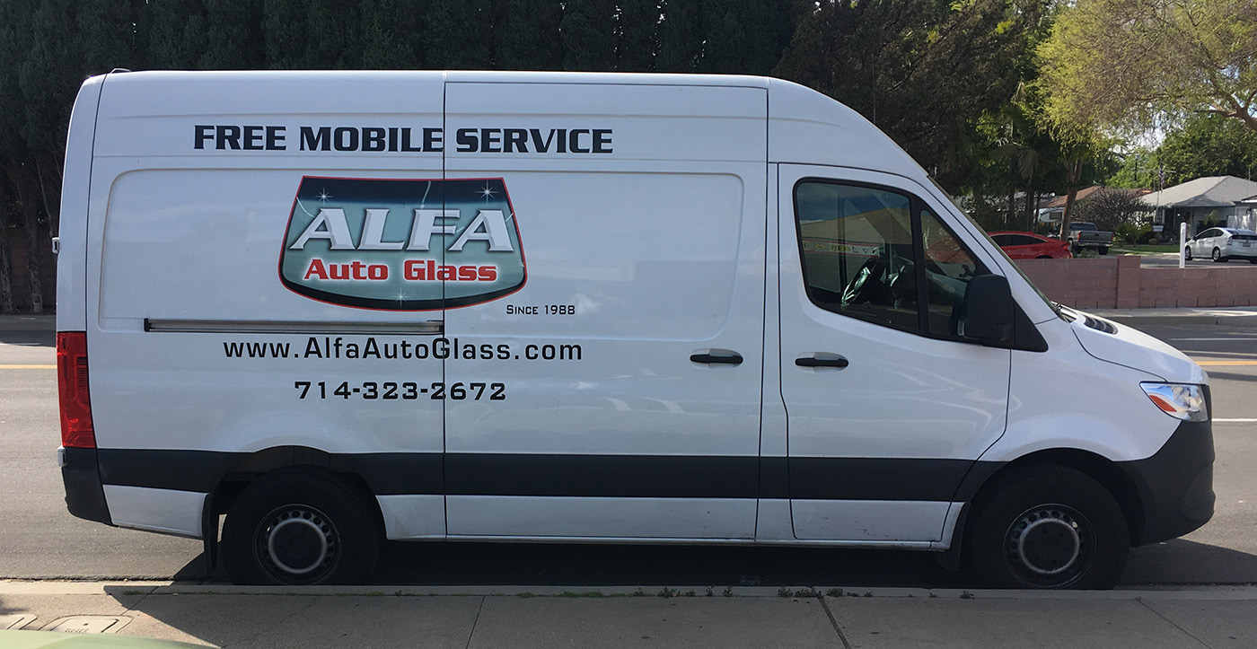 example of vectorized business logo on van